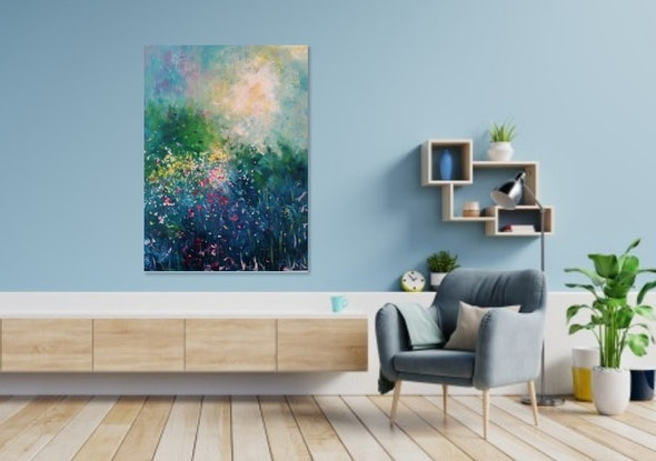 (CreativeWork) Abstract/Impressionism - Somebody's Smiling by Maria Cross. Acrylic Paint. Shop online at Bluethumb.