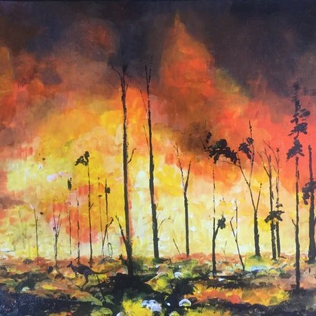 (CreativeWork) Escaping the inferno by Geoff Lugg. Acrylic Paint. Shop online at Bluethumb.