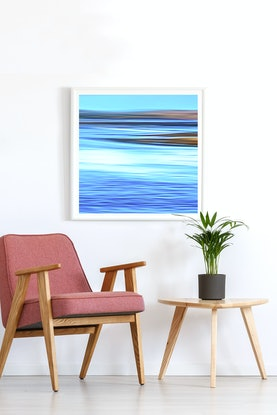 (CreativeWork) 'Turquiose Water' - square, blue, abstract expressionist seascape Ed. 1 of 15 by Bruce Peebles. Photograph. Shop online at Bluethumb.