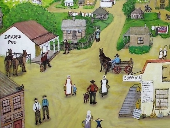 """(CreativeWork) """"Olden Days"""" by Fran Caldwell. Acrylic Paint. Shop online at Bluethumb."""