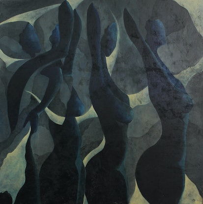 (CreativeWork) UNDRESS ME BLUES by MO -. Acrylic Paint. Shop online at Bluethumb.