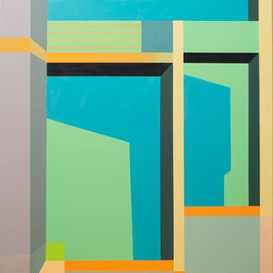 (CreativeWork) Composition with Glass by Dean O'Callaghan. acrylic-painting. Shop online at Bluethumb.