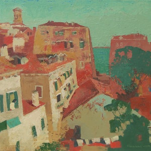 (CreativeWork) Venice Rooftops by Tetyana Khytko. acrylic-painting. Shop online at Bluethumb.