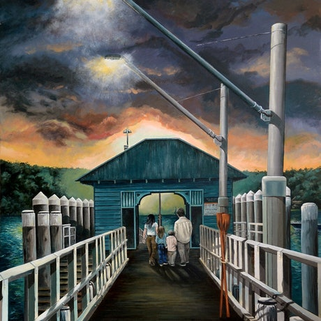 (CreativeWork) Strolling on the Wharf at Sunset by James Preece. Acrylic Paint. Shop online at Bluethumb.