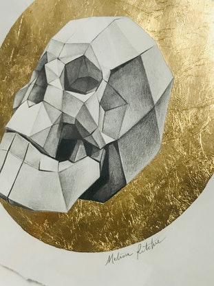 (CreativeWork) Paper Skull by Melissa Ritchie. Drawings. Shop online at Bluethumb.