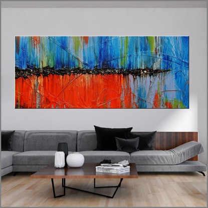 (CreativeWork) Cocktails At Sunset 240cm x 100cm  Orange Blue Texture Acrylic Gloss Finish Abstract by _Franko _. #<Filter:0x000055a2adddf4c8>. Shop online at Bluethumb.