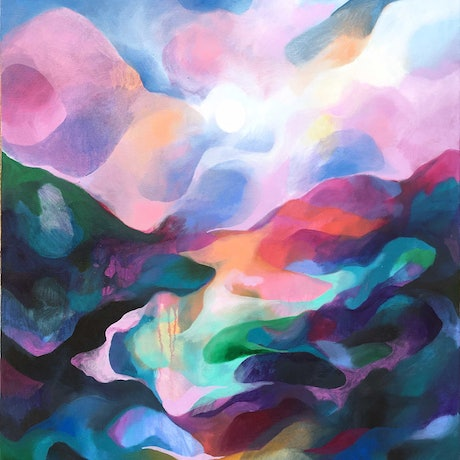 (CreativeWork) Misty Mountain by Nicole Black. Oil Paint. Shop online at Bluethumb.