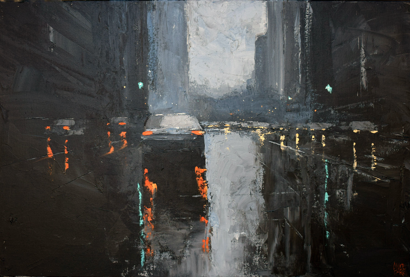 (CreativeWork) Afternoon reflections - textured rainy-day cityscape by Mike Barr. Acrylic Paint. Shop online at Bluethumb.