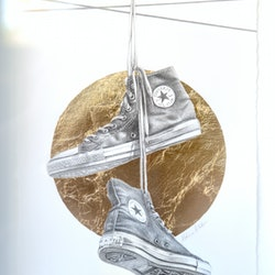 (CreativeWork) Chuck Taylors on a Wire by Melissa Ritchie. #<Filter:0x00007f9c4a4ecfd0>. Shop online at Bluethumb.