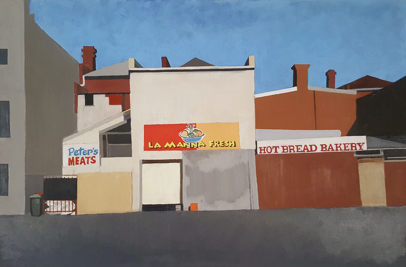 (CreativeWork) Behind the Shops by Alex Sinclair. Oil Paint. Shop online at Bluethumb.