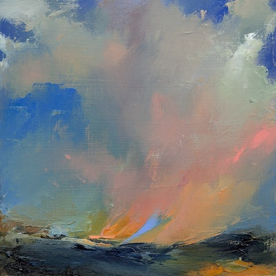 (CreativeWork) Abstract landscape oil painting  -  We Belong Among the Clouds by Lamice Ali. oil-painting. Shop online at Bluethumb.