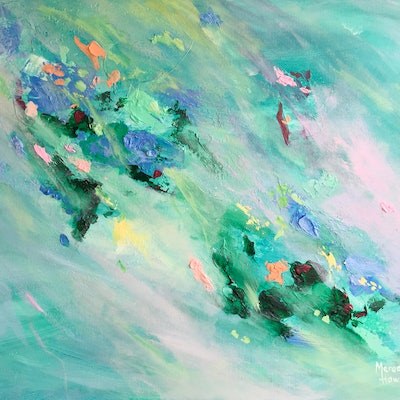 (CreativeWork) Opal Cascade by Meredith Howse. acrylic-painting. Shop online at Bluethumb.