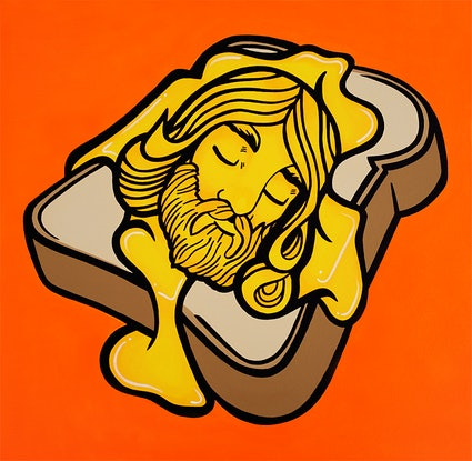 (CreativeWork) Grilled Cheesus by Pop Art Zombie. #<Filter:0x000055cbc2e56c10>. Shop online at Bluethumb.