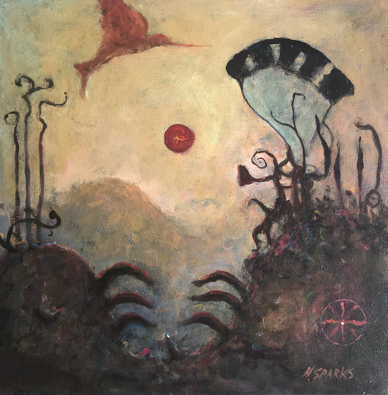 (CreativeWork) Humming Bird by Howard Sparks. Acrylic Paint. Shop online at Bluethumb.