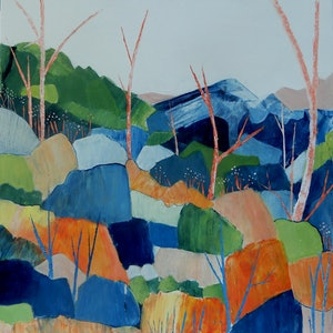 (CreativeWork) Salmon Gum Country by Doodie Herman. Acrylic Paint. Shop online at Bluethumb.