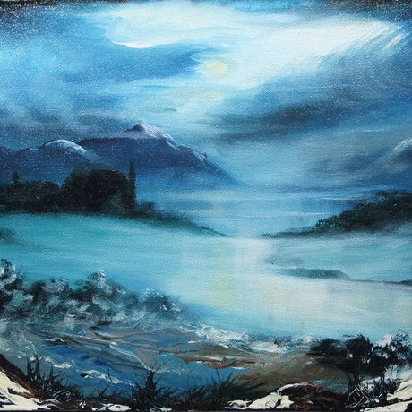 (CreativeWork) Moody Moonlight by Mark Rolls. Acrylic Paint. Shop online at Bluethumb.