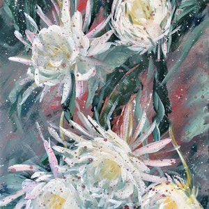 (CreativeWork) Shine in the dark  - Epiphyllum - Ready To Hang by HSIN LIN. #<Filter:0x00007fcaa467ea00>. Shop online at Bluethumb.