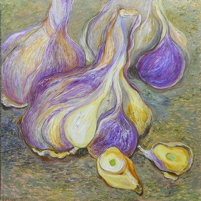 (CreativeWork) Garlic by Svetlana Soldatova. oil-painting. Shop online at Bluethumb.