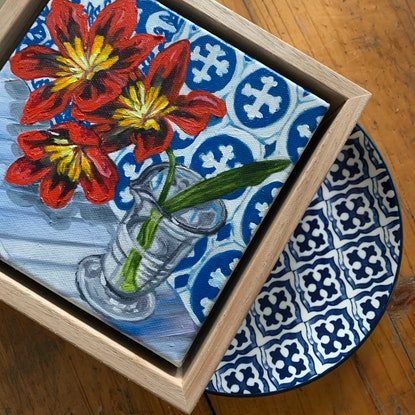 (CreativeWork) 25% OFF SALE - Spraxia on Blue #1  by Alicia Cornwell. Oil Paint. Shop online at Bluethumb.