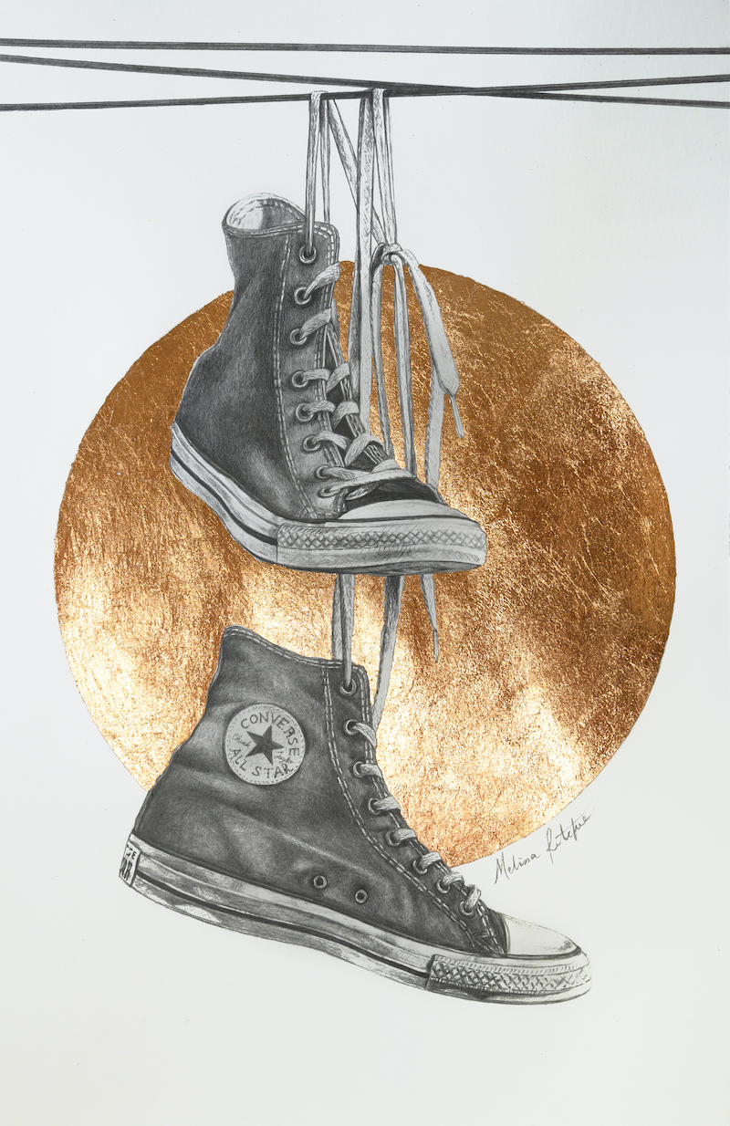 (CreativeWork) Chuck Taylors on a Wire by Melissa Ritchie. Drawings. Shop online at Bluethumb.