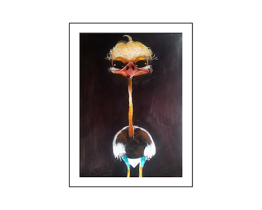 (CreativeWork) Ostrich  by John Graham. Mixed Media. Shop online at Bluethumb.