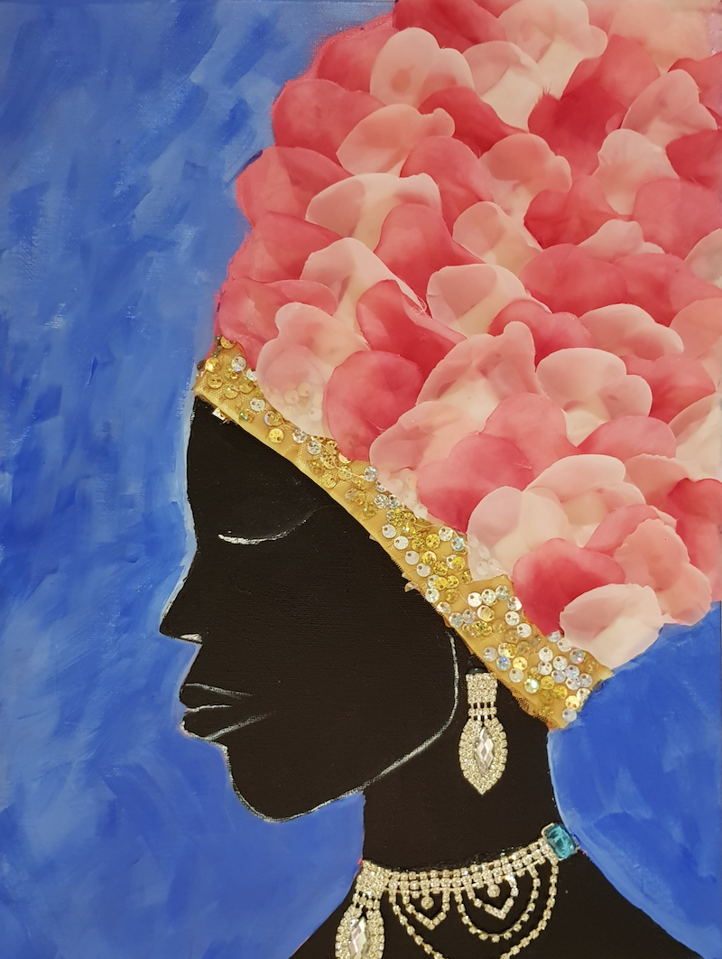 (CreativeWork) The Elegant Lady 2 mixed media collage, Strong African women series 3 by Sylvia Nobes. Mixed Media. Shop online at Bluethumb.