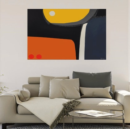 (CreativeWork) Eclipse - large original oil  and acrylic on canvas artwork, ready to hang by Yelena Revis. Mixed Media. Shop online at Bluethumb.