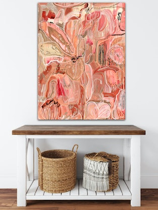 (CreativeWork) 'Floral Bliss' Large 122x91 Limited Edition Fine Art Print on Canvas 1 of 25 Ed. 1 of 25 by Carley Bourne. Print. Shop online at Bluethumb.