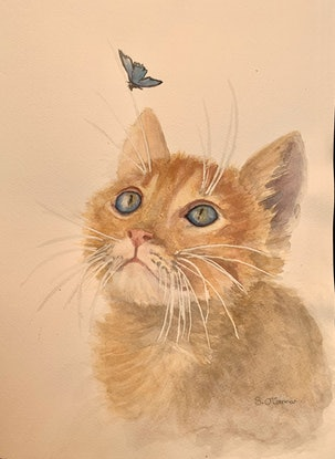 (CreativeWork) Ginger Kitty by Sandra O'Connor. Watercolour Paint. Shop online at Bluethumb.