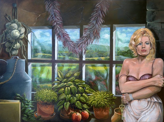 (CreativeWork) Milk Maid by James Preece. Acrylic Paint. Shop online at Bluethumb.