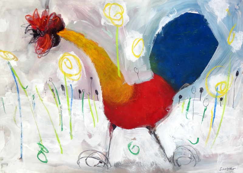 (CreativeWork) Rooster series 2  by John Graham. Mixed Media. Shop online at Bluethumb.