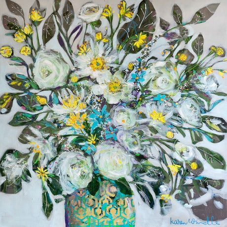 (CreativeWork) January's Roses by Karen Windle. Acrylic Paint. Shop online at Bluethumb.