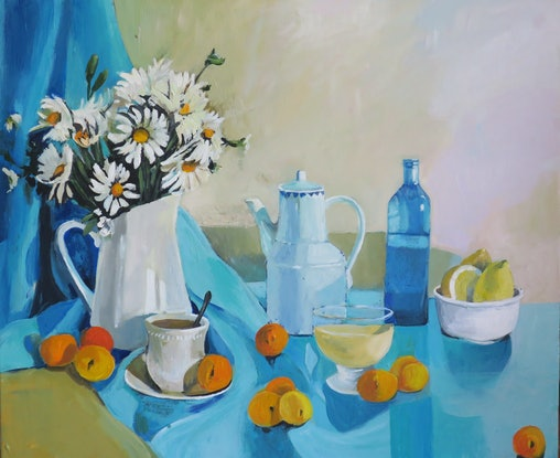 (CreativeWork) Floral Still Life - Daisies and Peaches by Susan Trudinger. Acrylic Paint. Shop online at Bluethumb.