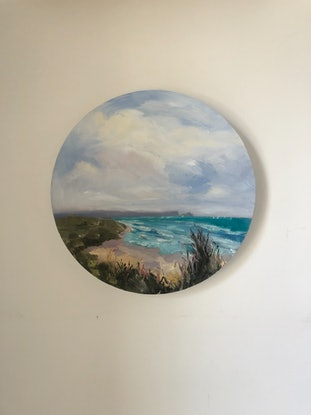 (CreativeWork) Remote Beach Life . Oil painting 30 cm diameter  by Gail McKenzie. Oil Paint. Shop online at Bluethumb.