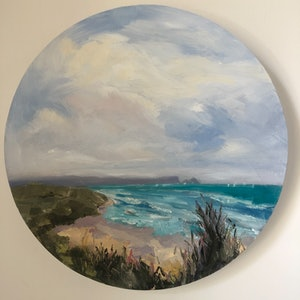 (CreativeWork) Remote Beach Life . Oil painting 30 cm diameter  by Gail McKenzie. #<Filter:0x0000563326fbee38>. Shop online at Bluethumb.