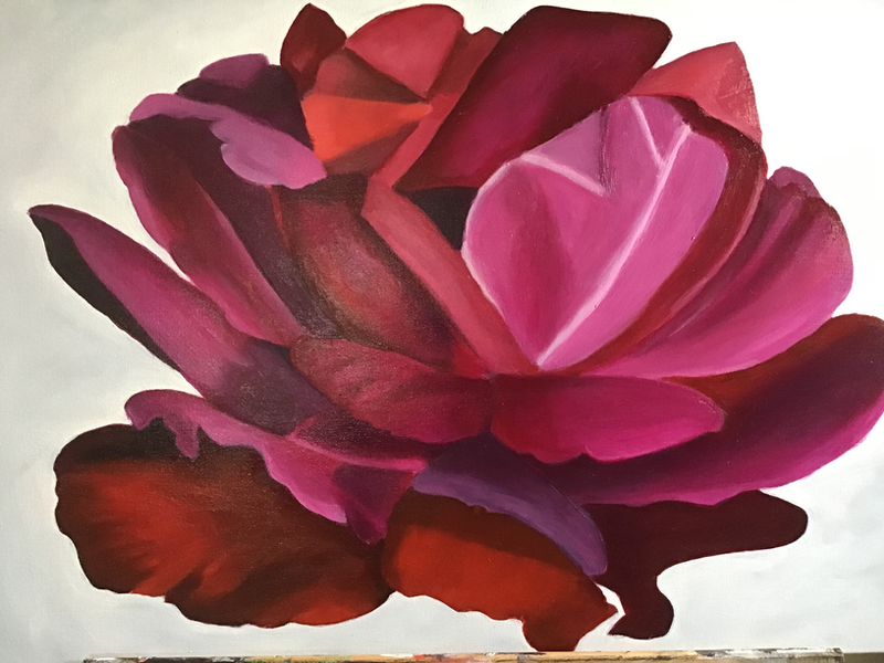 (CreativeWork) Red Rosie by Lisa Druitt. Mixed Media. Shop online at Bluethumb.