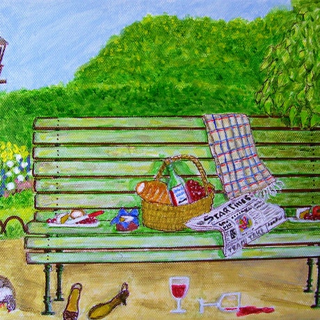 """(CreativeWork) """"Green Space"""" Small Acrylic Painting of an Al Fresco Scene by Fran Caldwell. Acrylic Paint. Shop online at Bluethumb."""