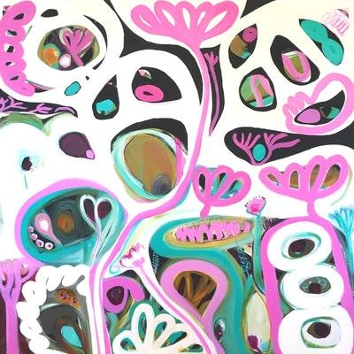 (CreativeWork) In Pink by Sarah Morrow. Acrylic Paint. Shop online at Bluethumb.