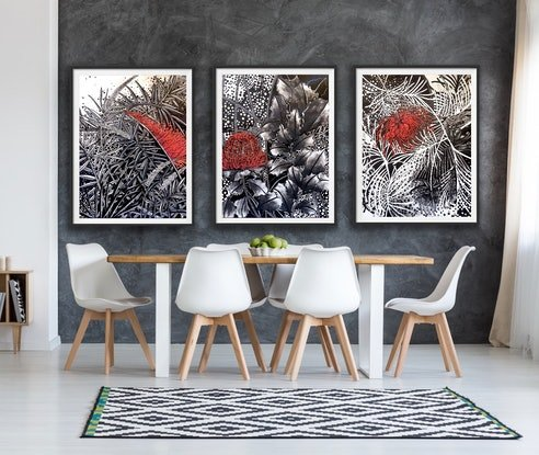 (CreativeWork) Trio: Autumn/Winter/All Four Seasons Red Flowering Native by Tania Daymond. Mixed Media. Shop online at Bluethumb.