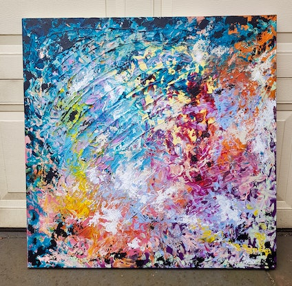 (CreativeWork) 'Susie'  Medium Abstract by Emma Jeffrey. Mixed Media. Shop online at Bluethumb.