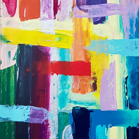 (CreativeWork) 'Lucy' Large abstract by Emma Jeffrey. Acrylic Paint. Shop online at Bluethumb.