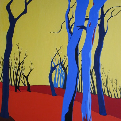 (CreativeWork) Blue Trees   by Marian Quigley. Acrylic Paint. Shop online at Bluethumb.