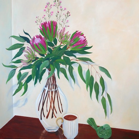 (CreativeWork) Proteas and Green Bird  by Rebecca Phillips. Acrylic. Shop online at Bluethumb.