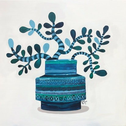 (CreativeWork) Blue Rimini Jade by Sally Browne. Acrylic Paint. Shop online at Bluethumb.