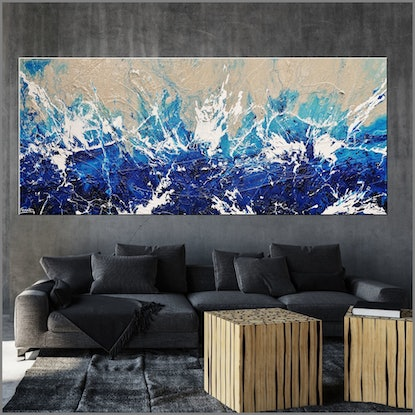 (CreativeWork) Oceanic Blue 240cm x 100cm  Blue White Cream Texture Acrylic Gloss Finish Abstract by _Franko _. Acrylic Paint. Shop online at Bluethumb.
