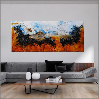 (CreativeWork) Blue Pools 240cm x 100cm  Blue Orange Texture Acrylic Gloss Finish Abstract Franko  by _Franko _. Acrylic Paint. Shop online at Bluethumb.
