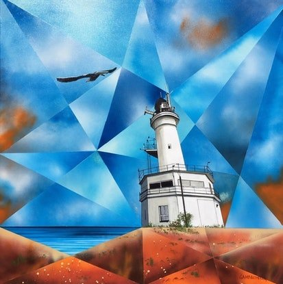 (CreativeWork) Through the Kaleidoscope_Point Lonsdale Lighthouse_Victoria by John Gambardella. Acrylic Paint. Shop online at Bluethumb.