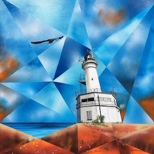 (CreativeWork) Through the Kaleidoscope_Point Lonsdale Lighthouse_Victoria by John Gambardella. #<Filter:0x000055ad69ec76f8>. Shop online at Bluethumb.