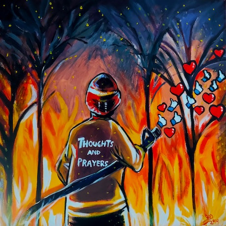 (CreativeWork) Thoughts and Prayers by Rebecca Read. Acrylic Paint. Shop online at Bluethumb.