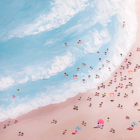 (CreativeWork) The Beach by Ashley Bunting. Oil Paint. Shop online at Bluethumb.